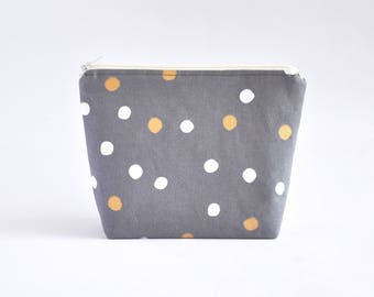Polka Dot Cosmetic Bag, Zipper Pouch, Makeup Bag, Makeup Pouch, Cosmetic Pouch, Toiletry Bag - Grey, Gold & White