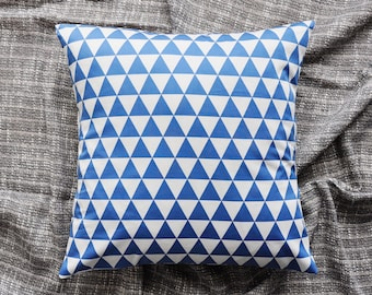 Triangles Cushion Cover, Throw Pillow Cover, Throw Cushion Cover, Decorative Cushion Cover, Decorative Pillow Cover - Blue & White