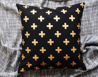 Crosses Cushion Cover, Throw Pillow Cover, Throw Cushion Cover, Decorative Cushion Cover, Decorative Pillow Cover - Black & Gold