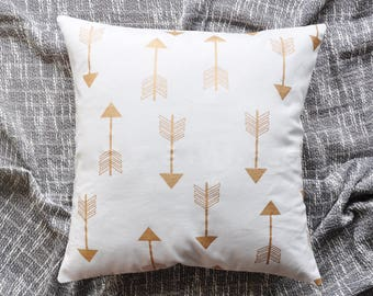 Arrows Cushion Cover, Throw Pillow Cover, Throw Cushion Cover, Decorative Cushion Cover, Decorative Pillow Cover - White & Gold
