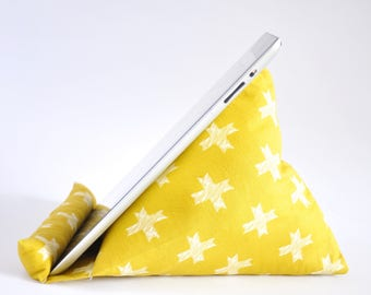 iPad Stand, iPad Holder, iPad Pillow, iPad Cushion, Tablet Stand, Tablet Holder, Tablet Pillow, Tablet Cushion - Golden Mustard Crosses