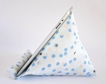 iPad Stand, iPad Holder, iPad Pillow, iPad Cushion, Tablet Stand, Tablet Holder, Tablet Pillow, Tablet Cushion - Blue Dots