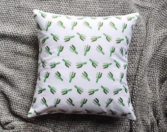 Cactus Print White Envelope Cushion Cover
