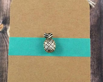 Tiny Pineapple Lapel Pin / Tie Tack - Silver Tone Metal - Tack Backing with Clutch Clasp