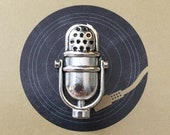 Retro Microphone Lapel Pin Tie Tack - Antique Silver Tone - Mic - Singer Gift - Vintage Style