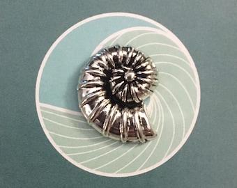 Silver Toned Ammonite Fossil Design Tie Tack