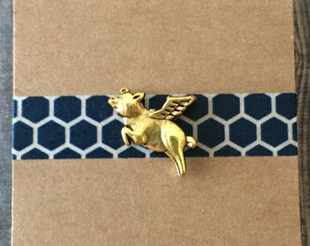 Flying Pig Lapel Pin / Tie Tack - Choose Antiqued Gold Tone or Silver Tone - When Pigs Fly - Tiny Winged Pig Pin