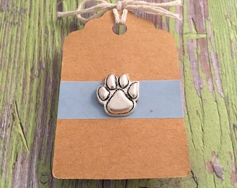 Paw Print Lapel Pin / Tie Tack   Silver Tone   Menu0027s Fashion   Suit Jacket  Accessories   Animal Jewelry  Dog And Car Lover Gift