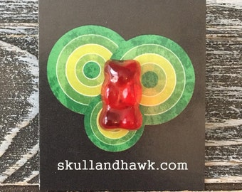 94c4d02e8a4786 Red Gummy Bear Lapel Pin - Realistic Resin Faux Candy - Tack Backing with  Clutch Clasp