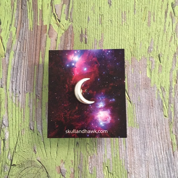 Crescent Moon Lapel Pin / Tie Tack   Silver Tone   Men's Fashion   Suit Jacket Accessories   Celestial Jewelry  Astronomy Lover Gift by Etsy