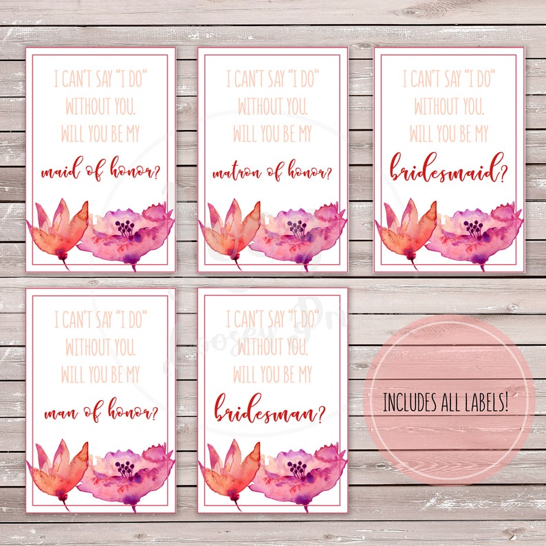 Instant Download I can/'t say I do without you Will you be my bridesmaid? Mini Wine Bridal Party Proposal Labels Printable Labels