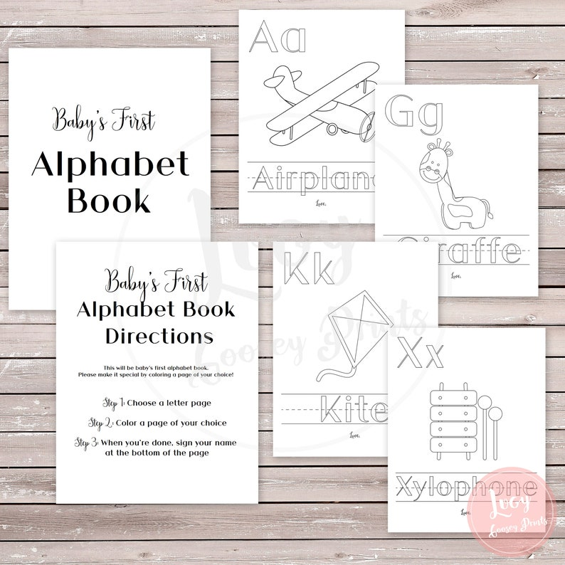 Baby Shower Coloring Book Baby S First Abcs Instant Download Printable Game Activity Baby Sprinkle