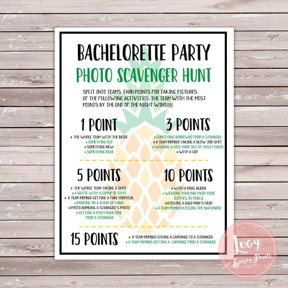 Pineapple Bachelorette Party Photo Scavenger Hunt Printable Etsy