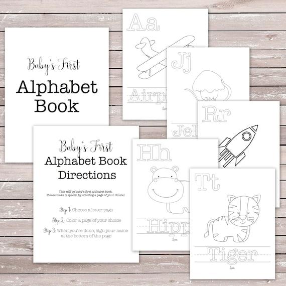 Babys First Alphabet Book Baby Shower Game Activity Etsy