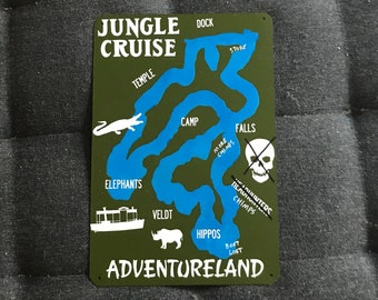 Jungle Cruise Map - Disneyland Inspired Jungle Cruise Map Metal Sign.