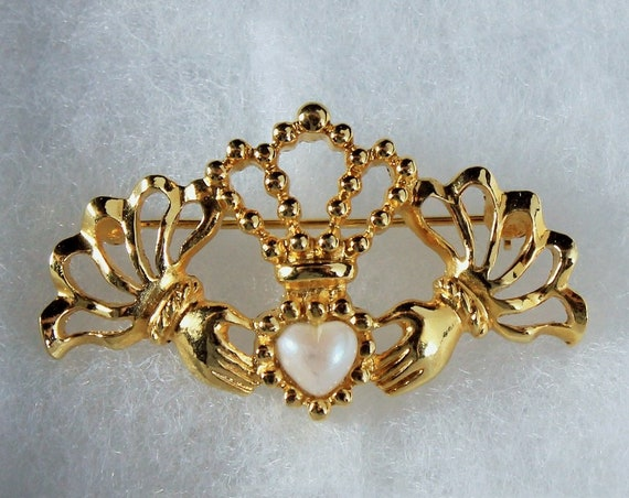 Claddagh Brooch, Avon, Gold Tone, Faux Pearl, Locking C Clasp, Fashion Pin, Costume Jewelry, Collectible