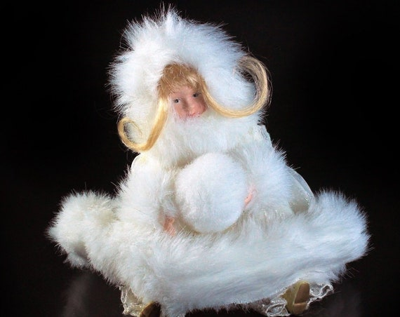 Shelf Doll with Snowball, Porcelain, White Faux Fur Trimmed, Blonde, Small,  Winter Dressed, Holiday, Christmas, Winter, 8 Inch