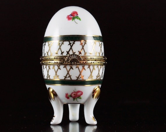 Egg Trinket Box Footed, Egg Ring Box, Hinged Porcelain, White Porcelain, Pink Floral Design, Gold Trim
