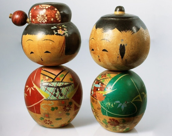 Kokeshi Peg Dolls, Japanese Dolls, Set of 2, Boy and Girl Doll, Wooden Dolls, Hand Painted, Collectible