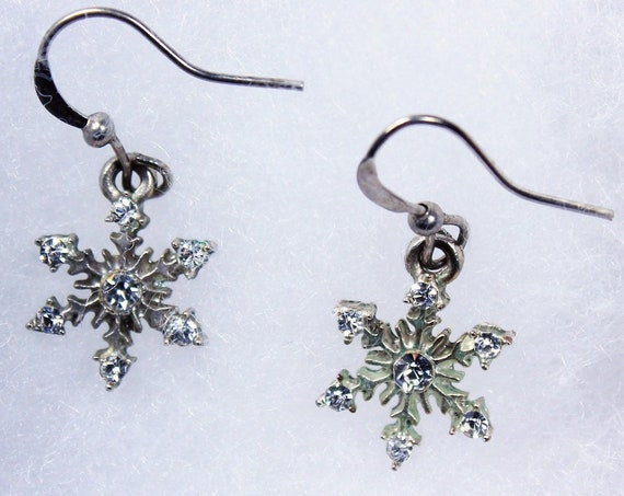 Snowflake Earrings, Silvertone, Clear Rhinestone, French Hooks, Fashion Jewelry, Costume Jewelry, Holiday Jewelry