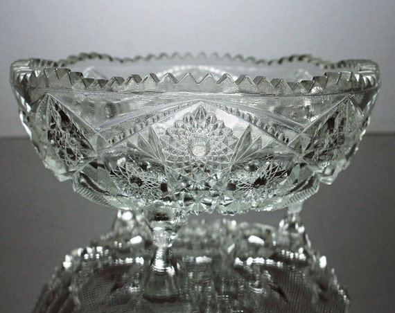 EAPG Three Toed Bowl, McKee Glass, Footed Bowl, Star Pattern, Sawtooth Edged, Clear Glass, Pressed Glass, Small Centerpiece