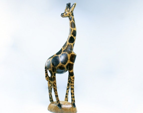 Wooden Giraffe Figurine, Made in Kenya, Hand Carved, African Art, Animal Statue, Collectible