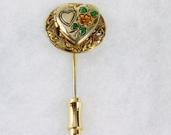 Heart Locket Stick Pin, Gold Tone, Heart and Flower Design, Fashion Pin, Costume Jewelry, Collectible