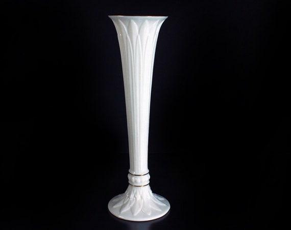 Lenox Bud Vase, Tivoli, Cream Color, Gold Trim, Flower Vase, Embossed, Giftware, Collectible, Discontinued