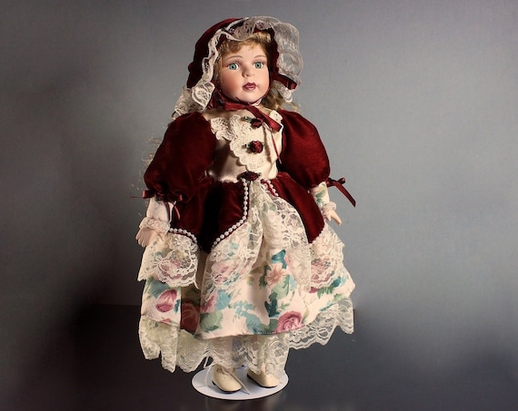 Collectible Porcelain Doll, The Samantha Collection,  Samantha Medici, 16 inch Doll, Display Doll, Stand Included, Red Velvet and Lace