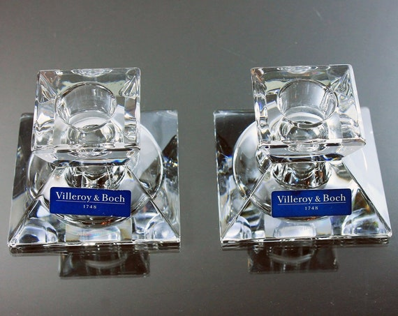 Crystal Candlesticks, Villeroy & Boch, Small Square, Crystal Candle Holders, Set of 2, Candles Included, 24% Lead Crystal, New in Box