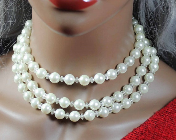 Faux Pearl Choker Necklace, Triple Strand, Hook Clasp, White, Crystal Spacers, Costume Jewelry, Collectible, Wedding, Woman's Gift