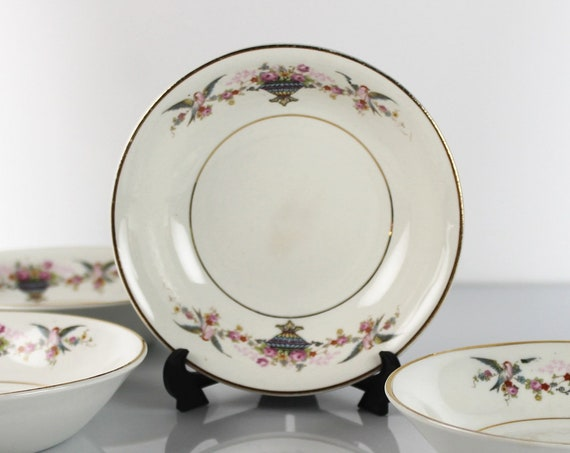 Fruit Bowls, Homer Laughlin, Urn and Birds, Set of 4, Gold Trim