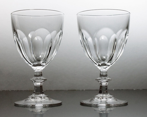 Crystal Wine Glasses, Cristal D'Arques-Durand, Rambouillet, Claret Wine Glasses, Set of 2, Paneled Sides, Discontinued, Barware