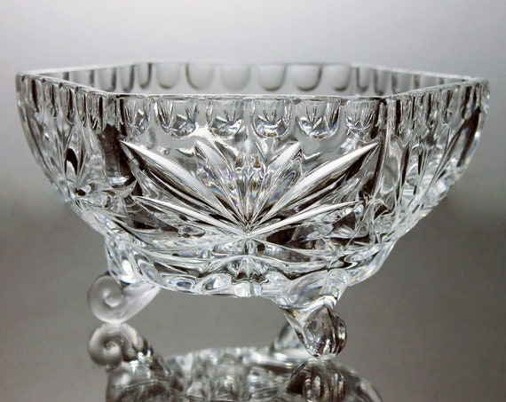 Crystal Hexagon Bowl, Three Toed Bowl, Footed, Heavy, Clear Glass, Fan and Pinwheel, Cut Glass, Six Sided, Candy Dish