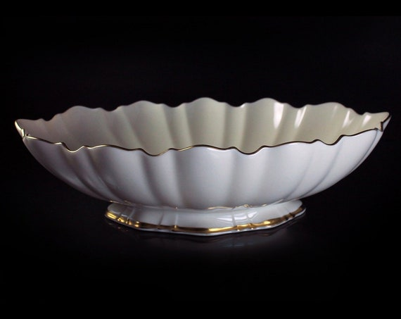 Oval Centerpiece Bowl, Lenox Symphony, Footed Bowl, Scalloped Bowl, 24K Gold Trim, Giftware