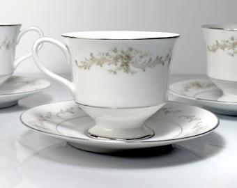 Cups and Saucers, Sango China, Carousel, Set of 3, Fine China, Platinum Trim, Teacups, Dinnerware
