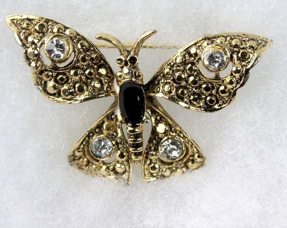 Butterfly Brooch, Gold Tone, Clear Rhinestone, Onyx Stone, Locking C Clasp, Fashion Pin, Costume Jewelry, Collectible, Small Pin