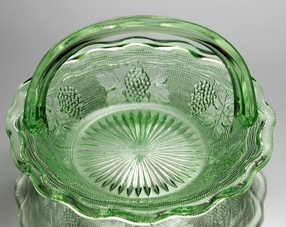 Vaseline Glass Basket, Westmoreland, Woolworth, Uranium Glass, Grape Pattern, Candy Dish, Green Glass