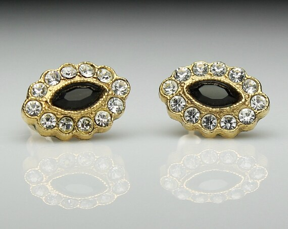 1928 Jewelry Co Earrings, Gold Tone, Black Bead, Clear Rhinestones, Post