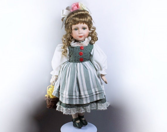 Collectible Porcelain Doll, The Angelina Collection, 16 inch Doll, Display Doll, Stand Included, 2000
