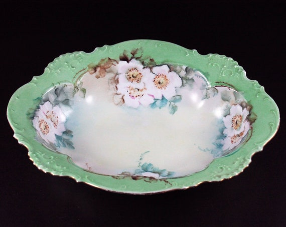 Oval Vegetable Bowl, White Floral, Green Trimmed, 9 Inch, Serving Bowl, Embossed, Centerpiece, Decorative