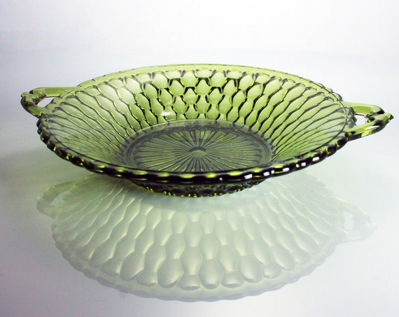 Relish Dish, Indiana Glass, Honeycomb Green, Handled Bowl, Pressed Glass, Serving Bowl