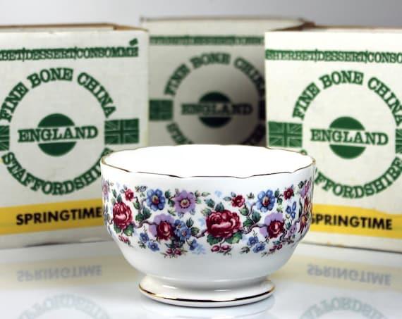 Sherbet Dessert Bowl, Staffordshire, Springtime, England, Bone China, Consomme Bowl, Set of 6, 22 Kt. Gold Trim, New in Box