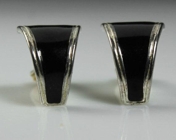 Clip-On Earrings, Black Enamel, Silvertone, Costume Jewelry, Unsigned, Fashion Jewelry