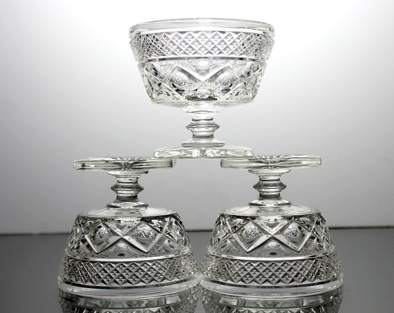 Three Low Sherbet, Imperial Glass, Cape Cod Clear, Wafer Stem, Square Foot, Clear Pressed Glass, Dessert Dishes