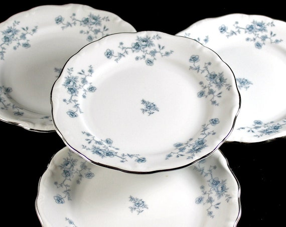 Bread and Butter Plates, Johann Haviland, Blue Garland, Bavarian Backstamp, Floral Pattern, Set of Four, Fine China, Discontinued