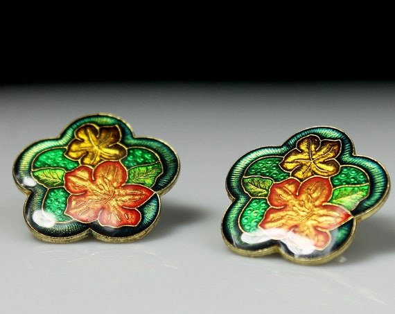 Cloisonné Post Earrings, Floral, Enamel, Jewelry, Costume Jewelry, Fashion Jewelry, Collectible