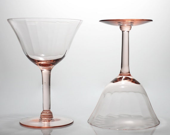Pink Wine Glasses, Optic Paneled, Depression Glass, Cocktail Glasses, Set of 2, Barware