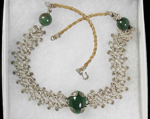 Antique Choker Necklace, Green Jade Stone,  Silver Lattice