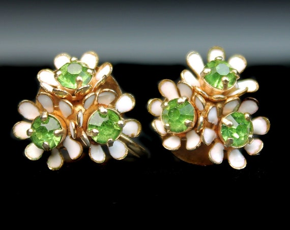 Barclay Screw Back Earrings, Floral Cluster, Green Rhinestone, Gold Tone, Signed, Costume Jewelry, Collectible